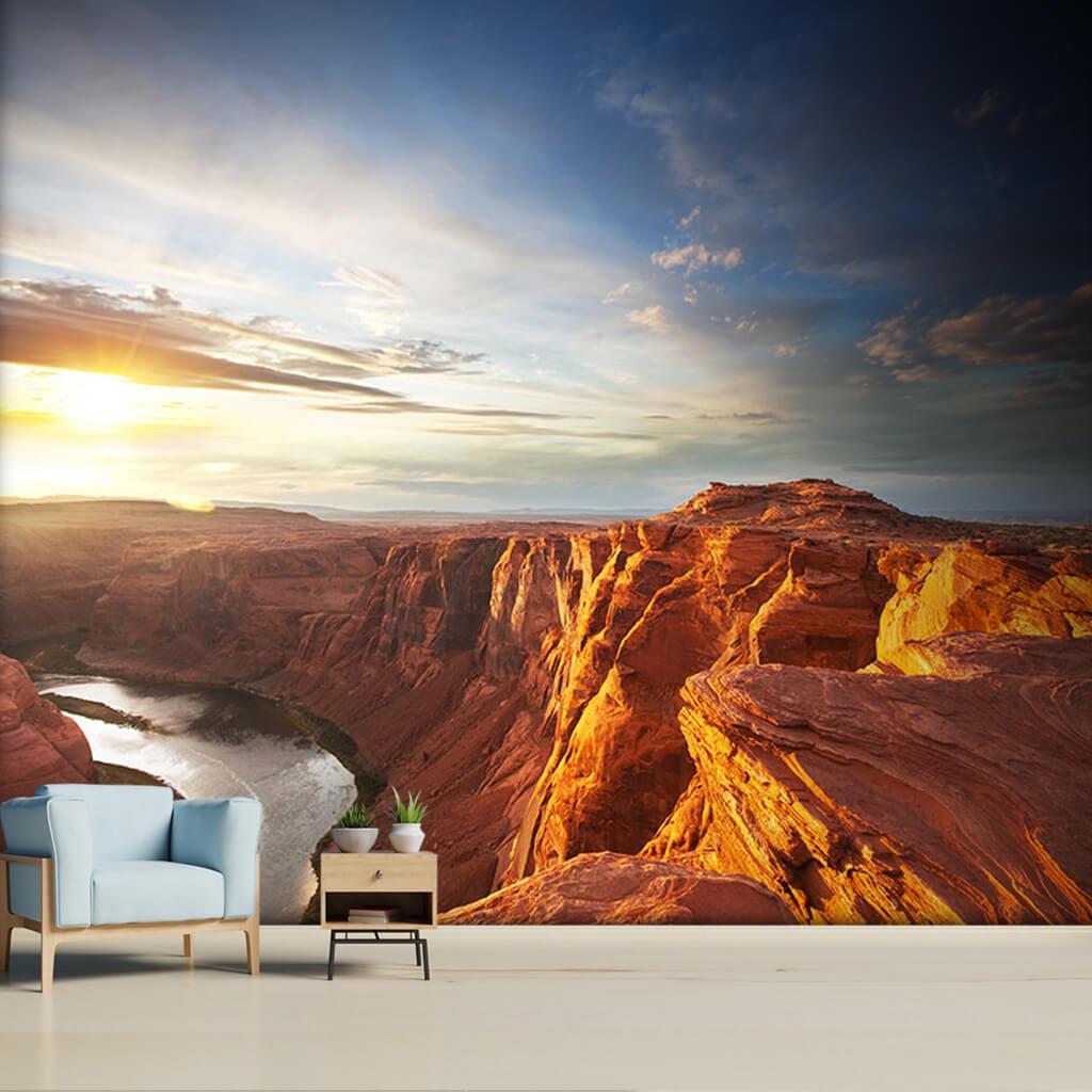 Büyük kanyon ve Colorado nehri manzarası uçurum duvar kağıdı