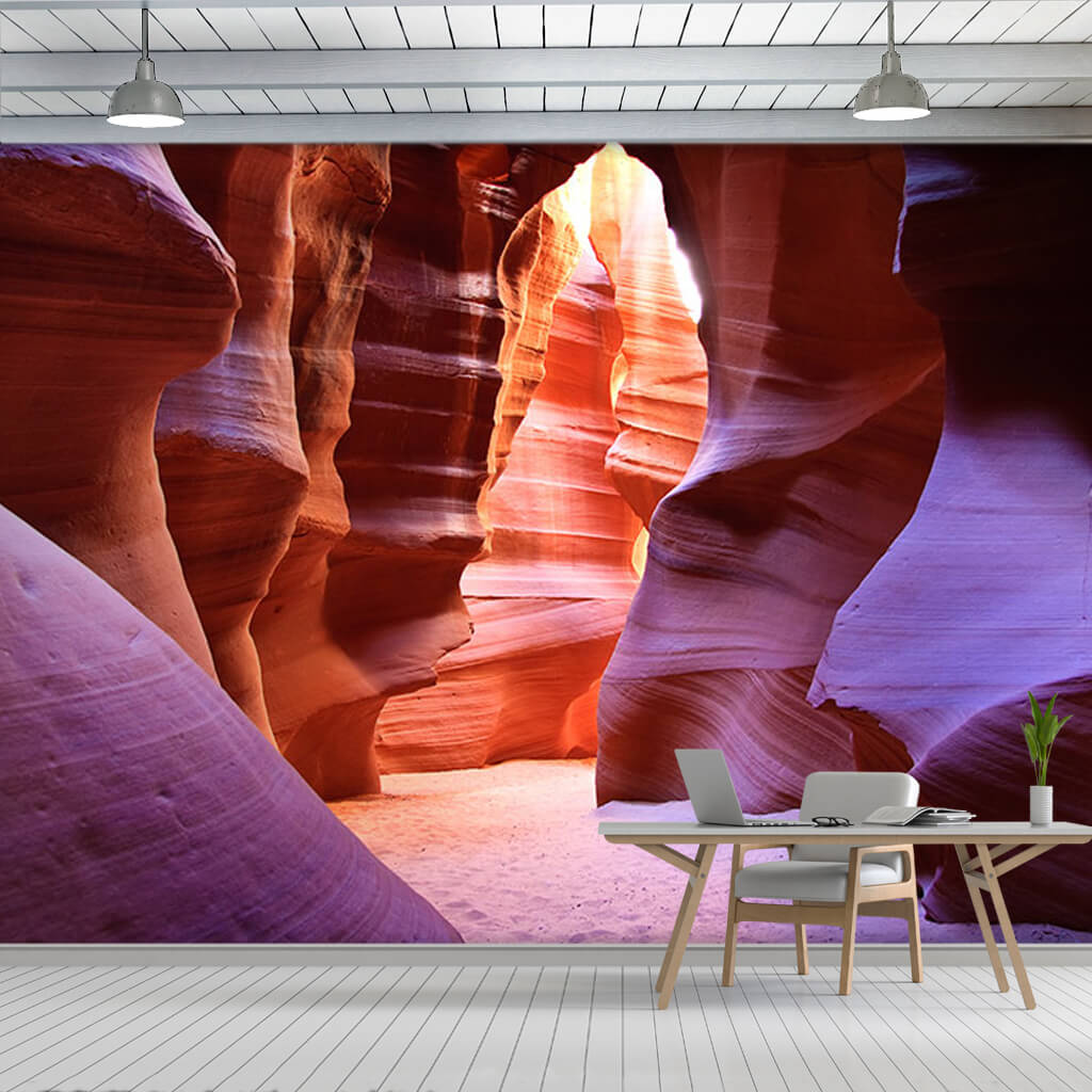 Antelope Canyon Arizona with pink purple colors wall mural