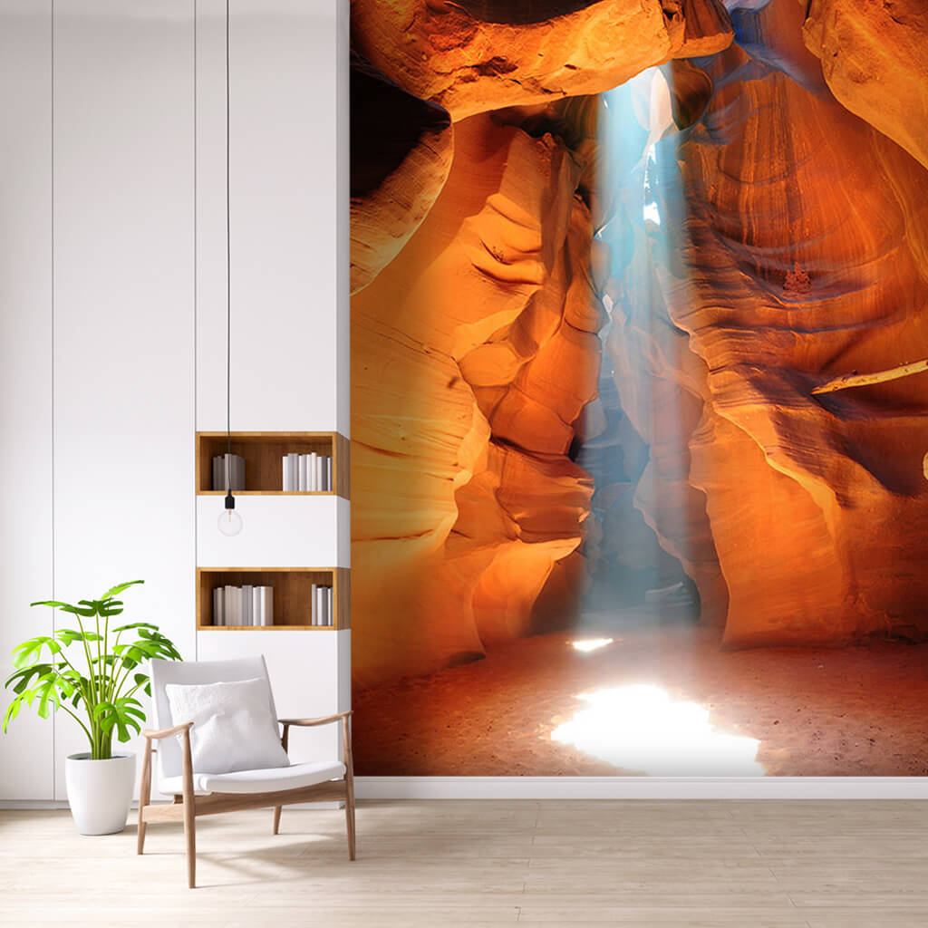 Antelope canyon and daylight filtering through the ground