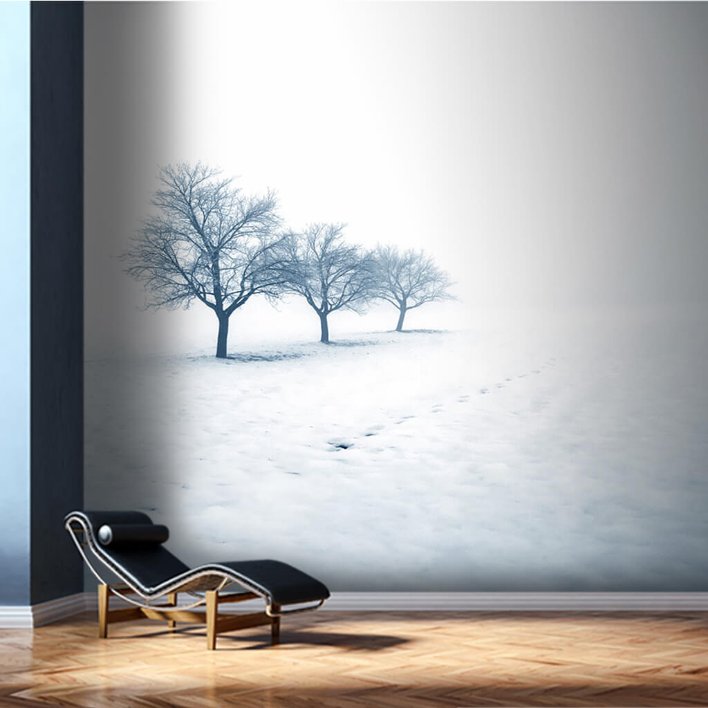 3 trees in white snow and fog winter landscape wall mural