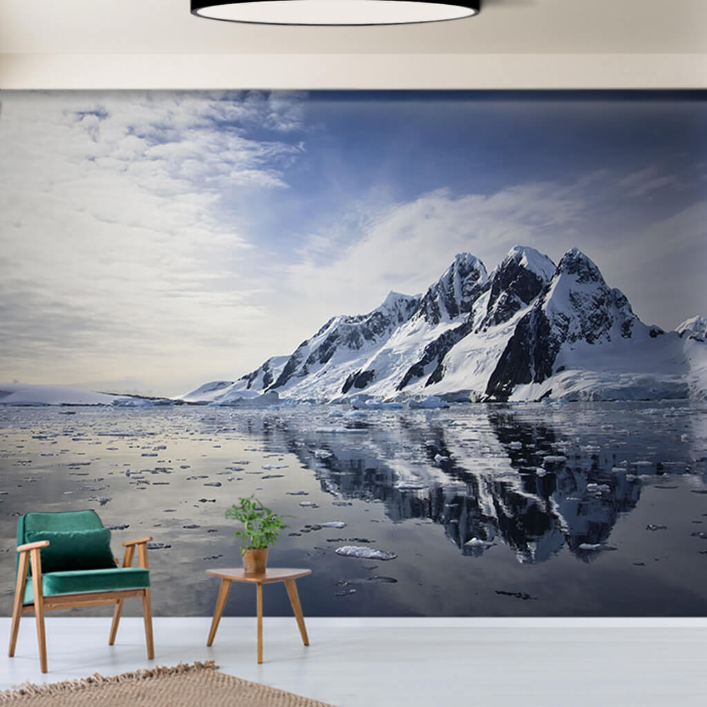 Antarctic landscape and snowy mountains custom wall mural