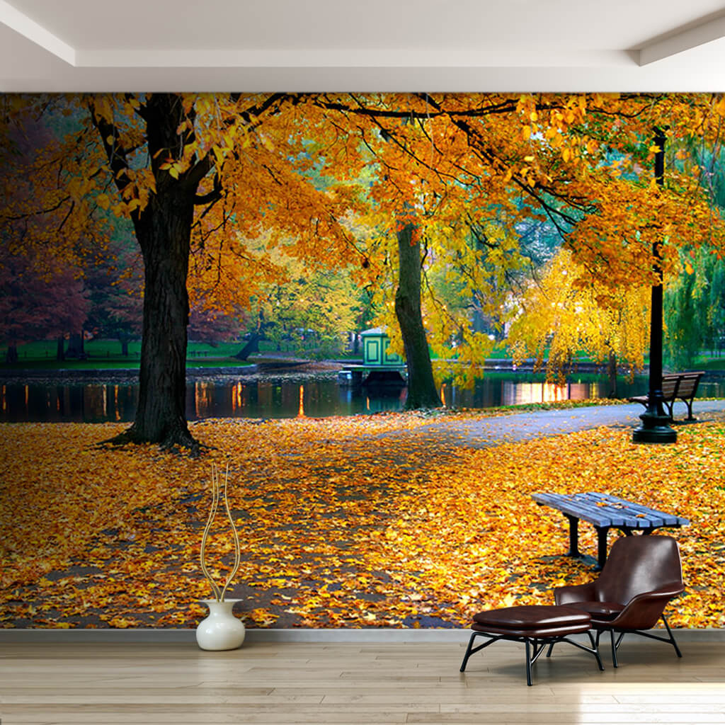 Autumn in Boston public park and yellow leaves wall mural