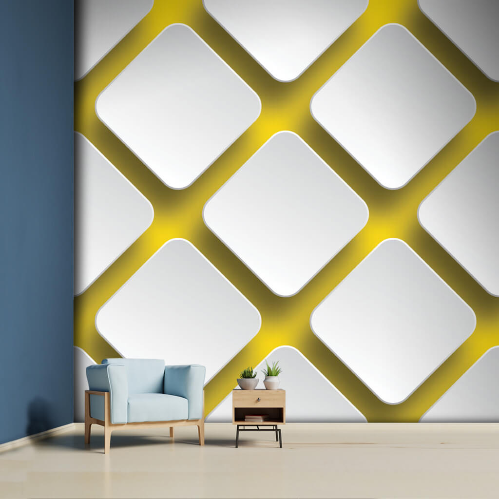Diagonal square 3D pattern on yellow background wall mural