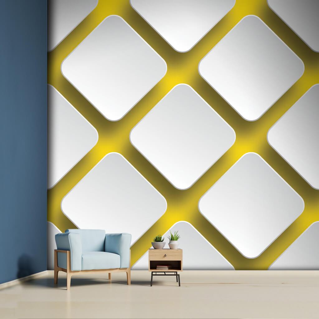 Sarı zemin üzerine çapraz kare 3 boyutlu desen duvar kağıdı.