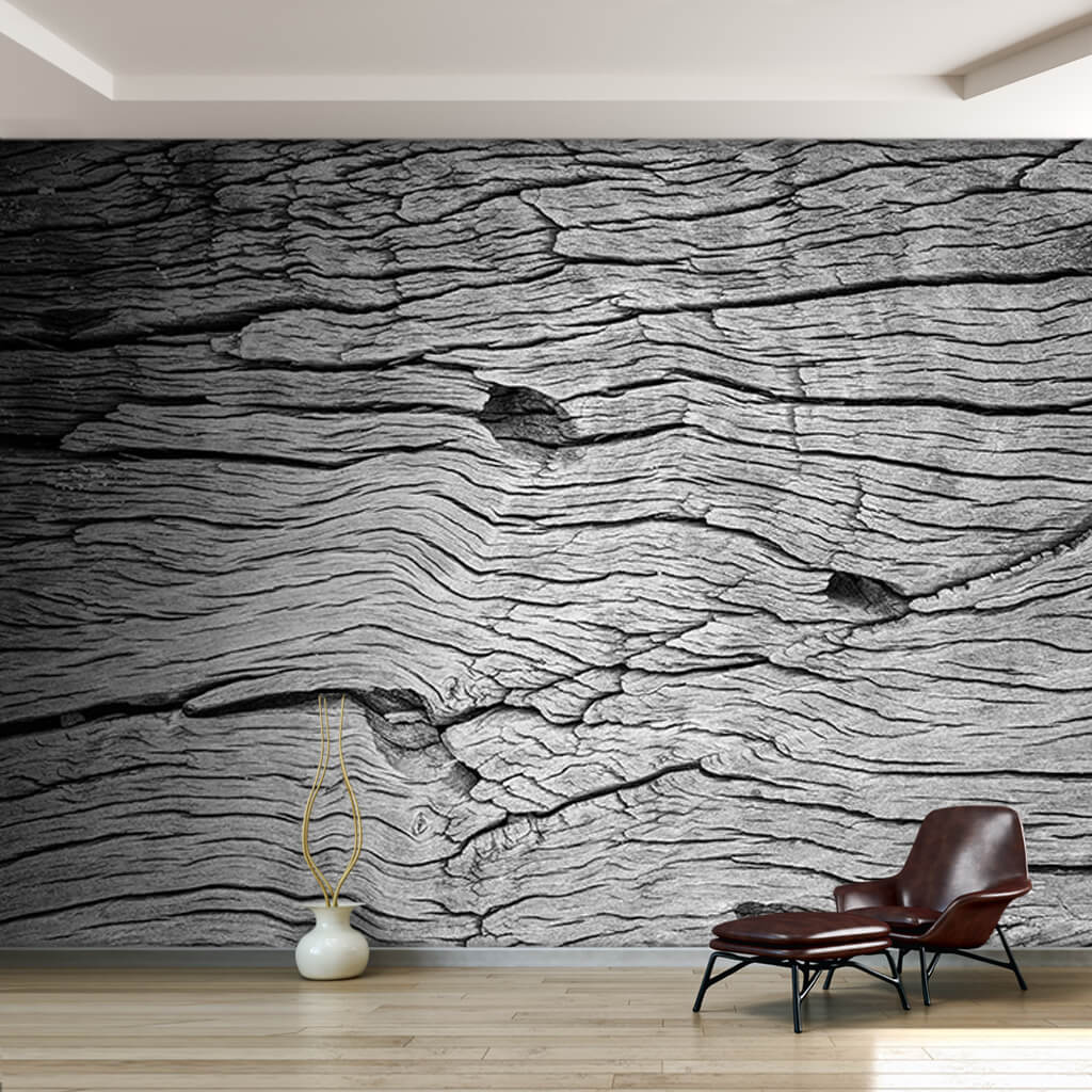 Black white tree trunk bark textured wood custom wall mural