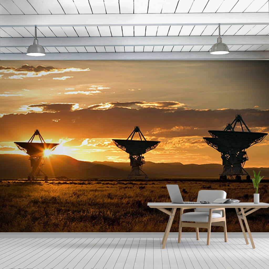 4 dish satellites at sunset New Mexico Panorama wall mural