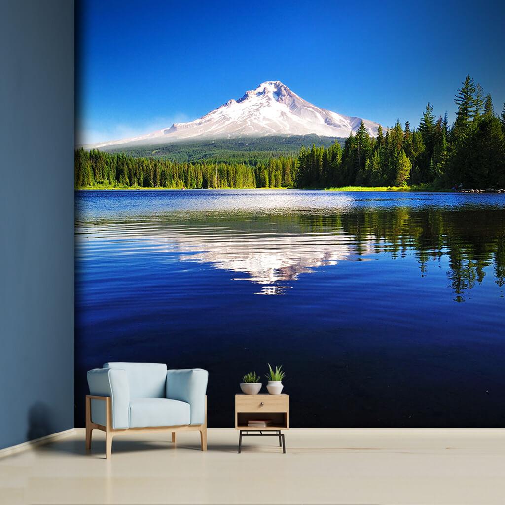 Hood Mountain Reflection On Trillium Lake Oregon Wall Mural