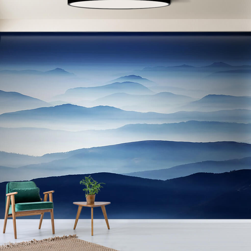 Foggy twilight over mountain chain scalable custom wall mural