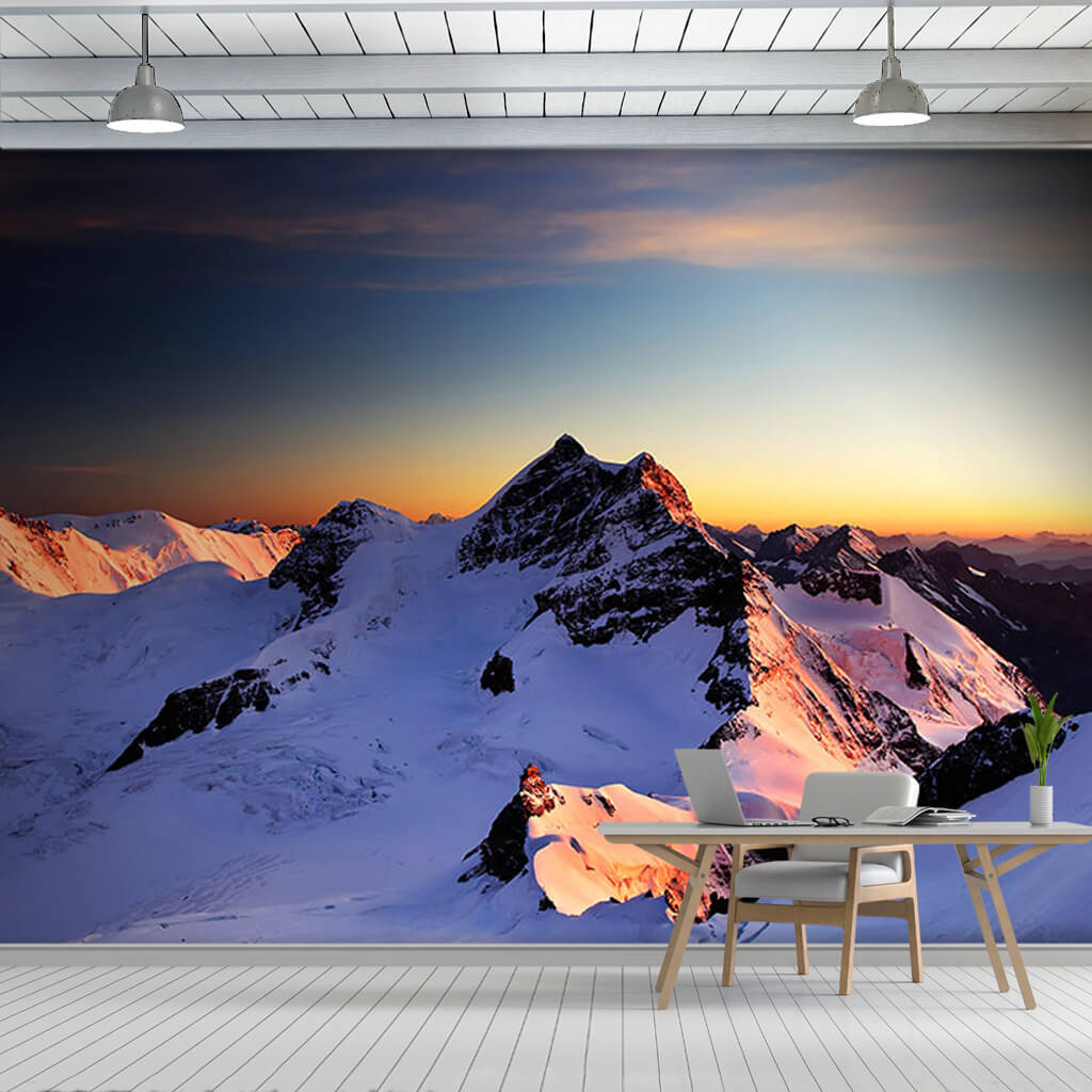 Avrupa zirvesi jungfraujoch tepesi manzara duvar kağıdı