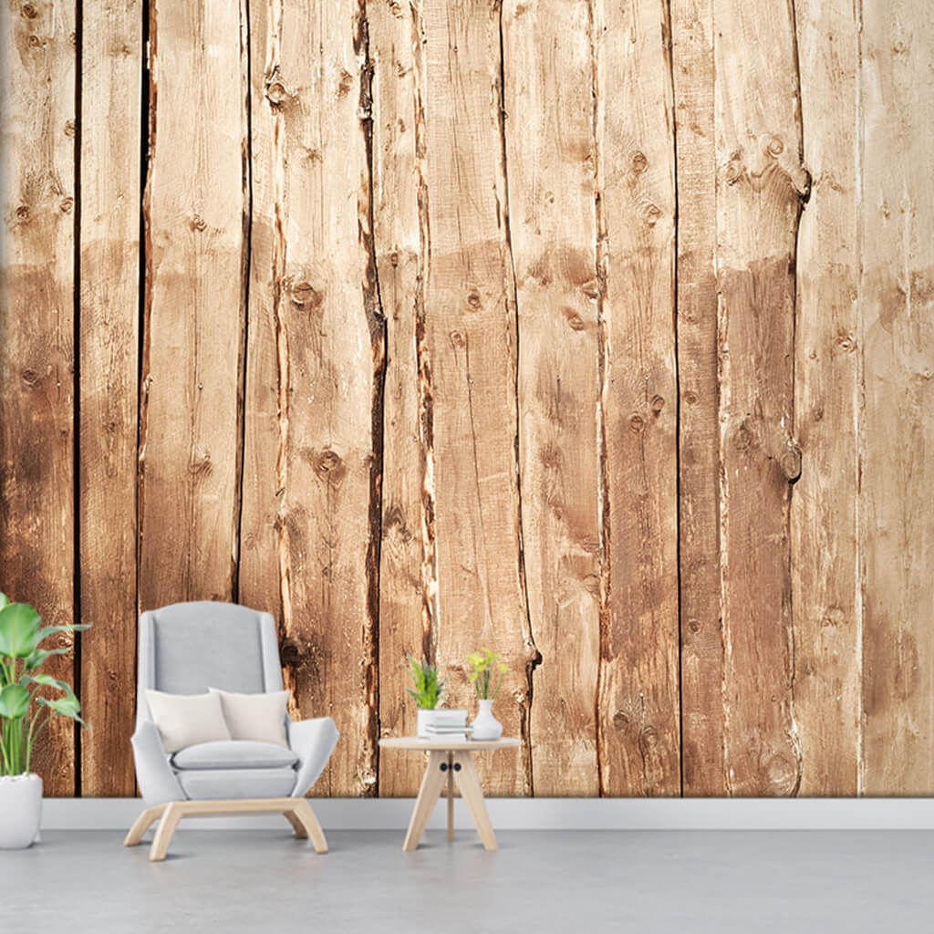 Light brown poplar vertical wooden fence custom wall mural