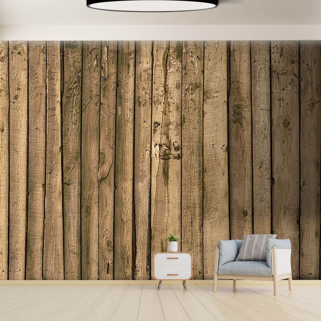 Rough Cut Wooden Fence Vertical Wood Boards Wall Mural