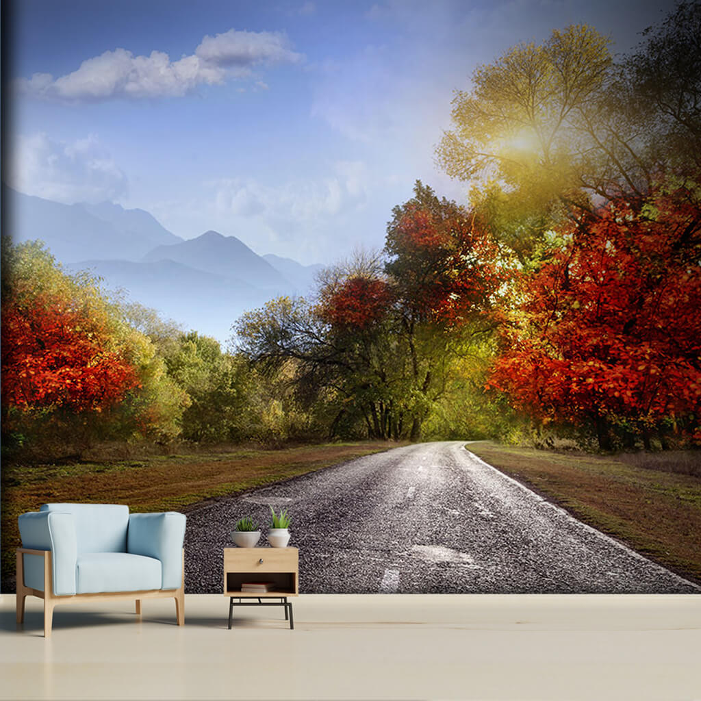Autumn mountains and asphalt road landscape wall mural