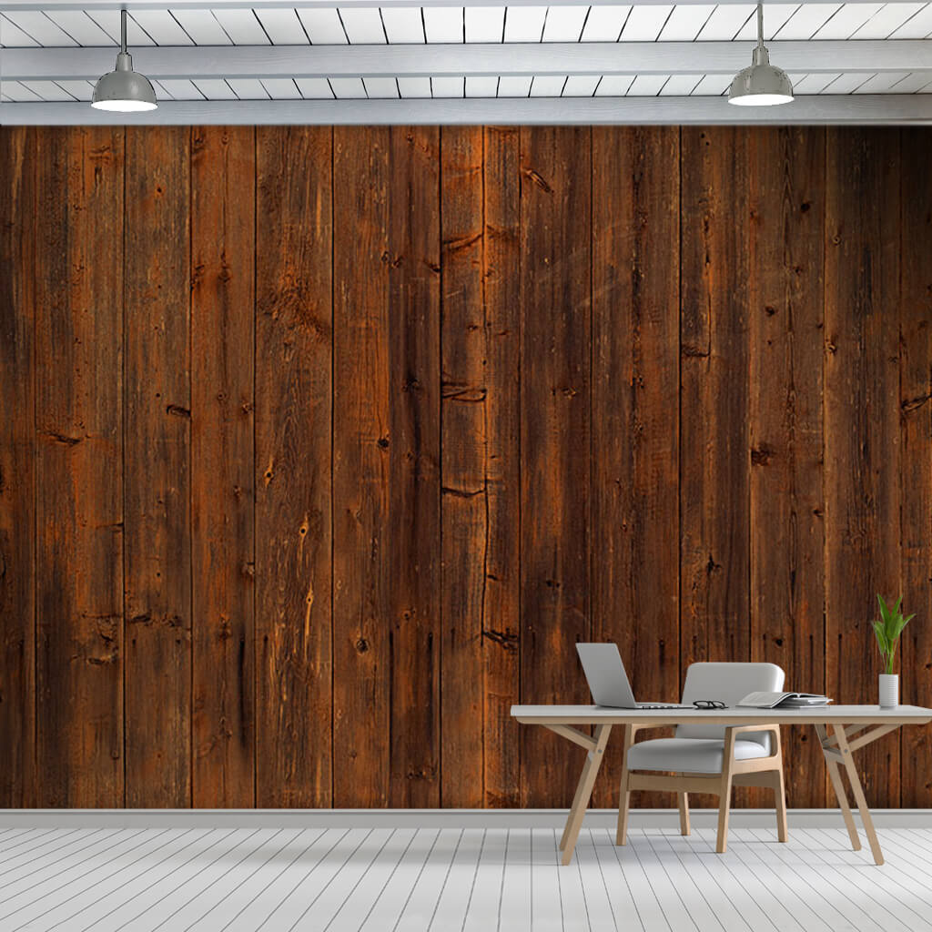 Dark brown red plank wood panel tree custom wall mural