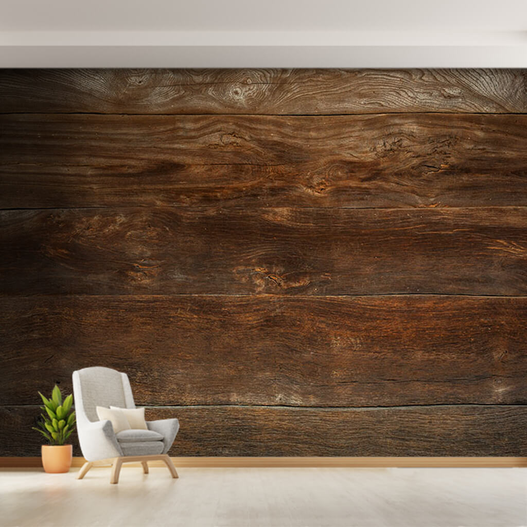 Dark brown wood plank planks horizontal panel wall mural