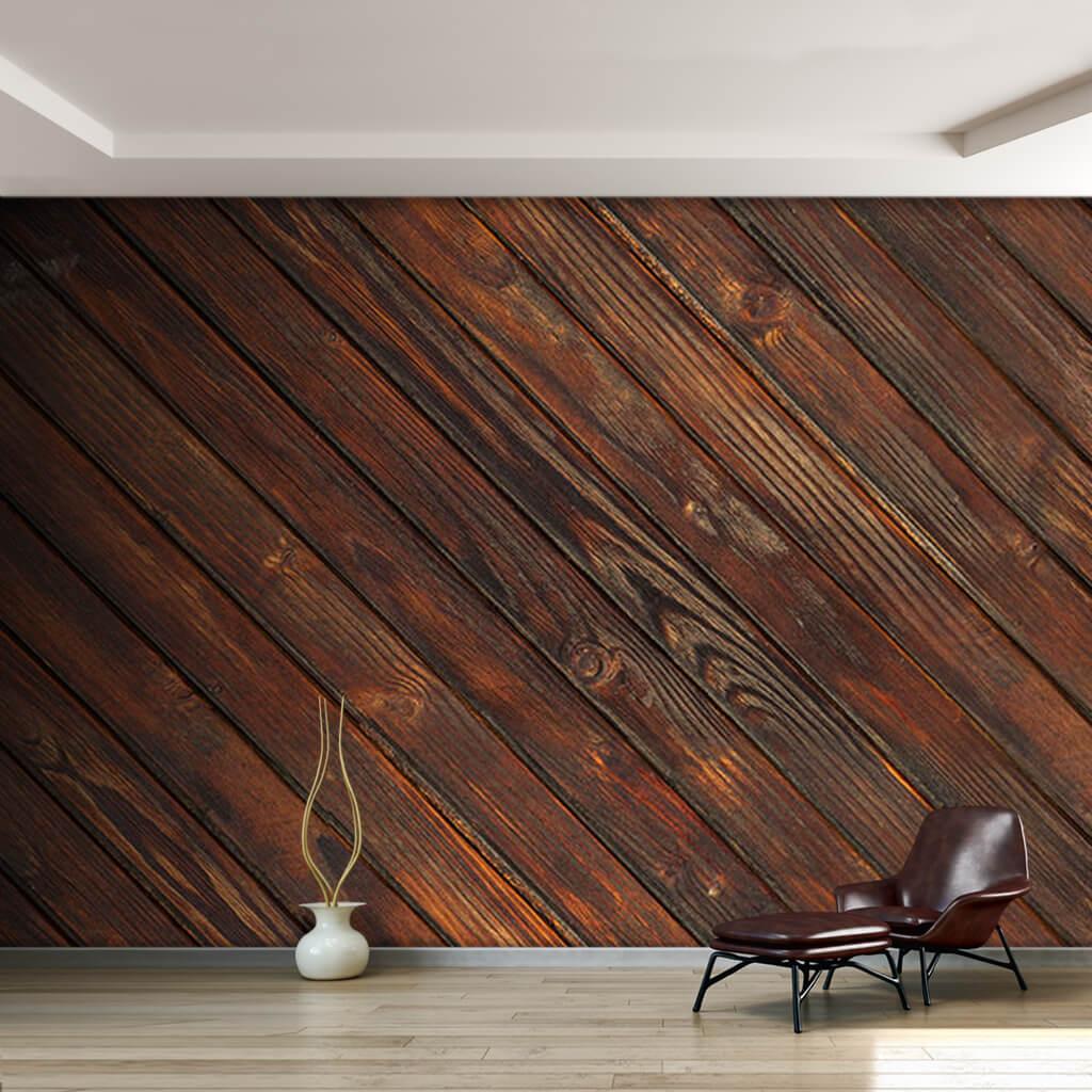 Koyu ahşap eskitme çapraz yer döşemesi duvar kağıdı