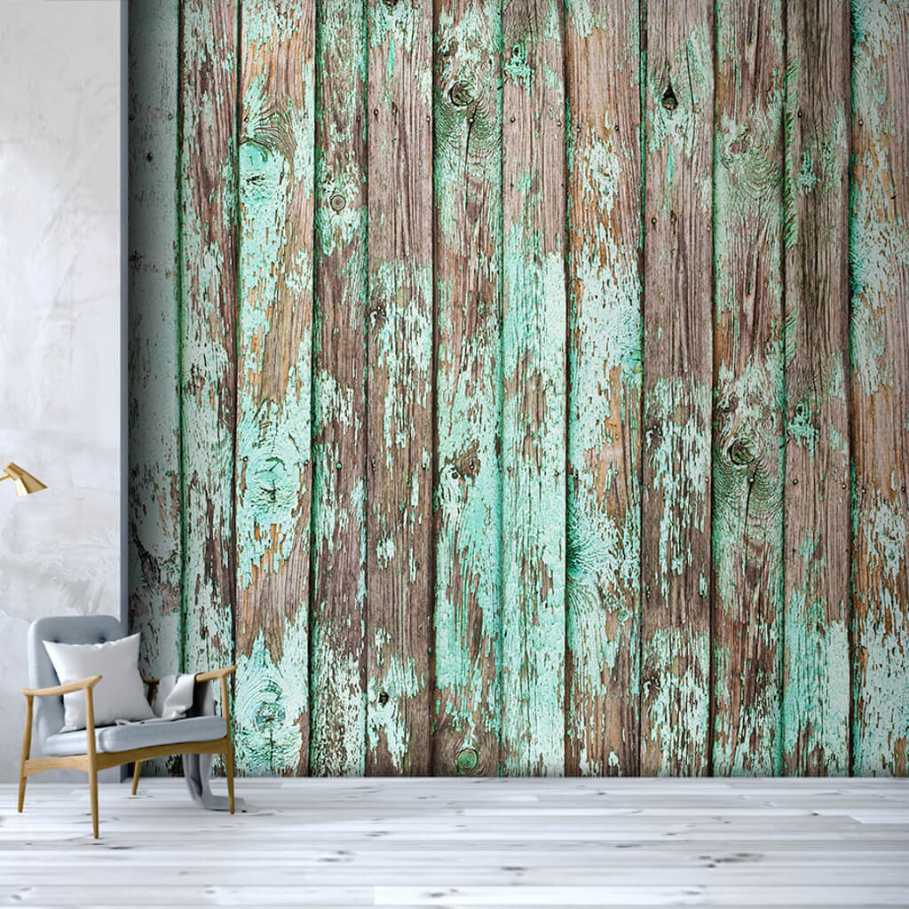 Green turquoise painted worn tumbled wood custom wall mural