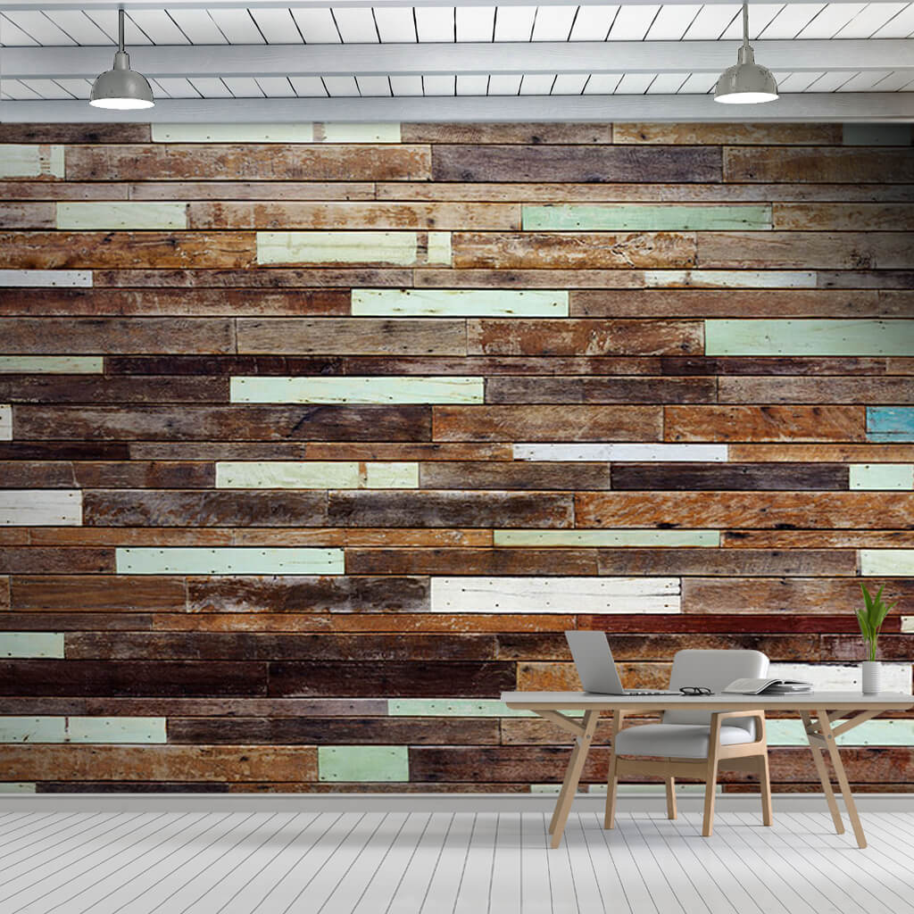 Brown and white painted wood parquet flooring wall mural
