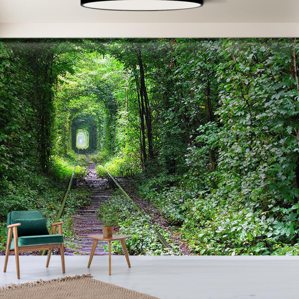 Bitki tüneli içinden geçen demiryolu raylar doğa duvar kağıdı