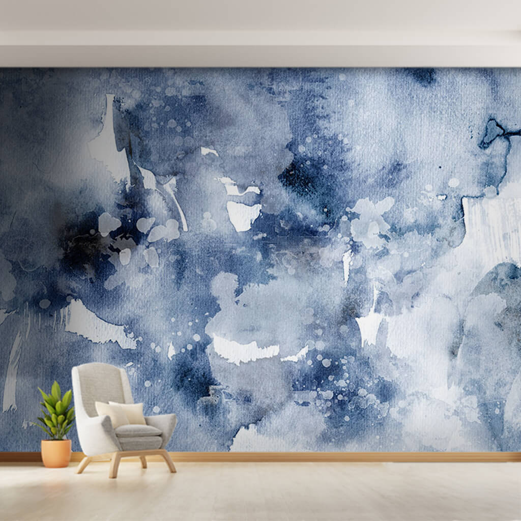 Blue watercolor ink on white background custom wall mural