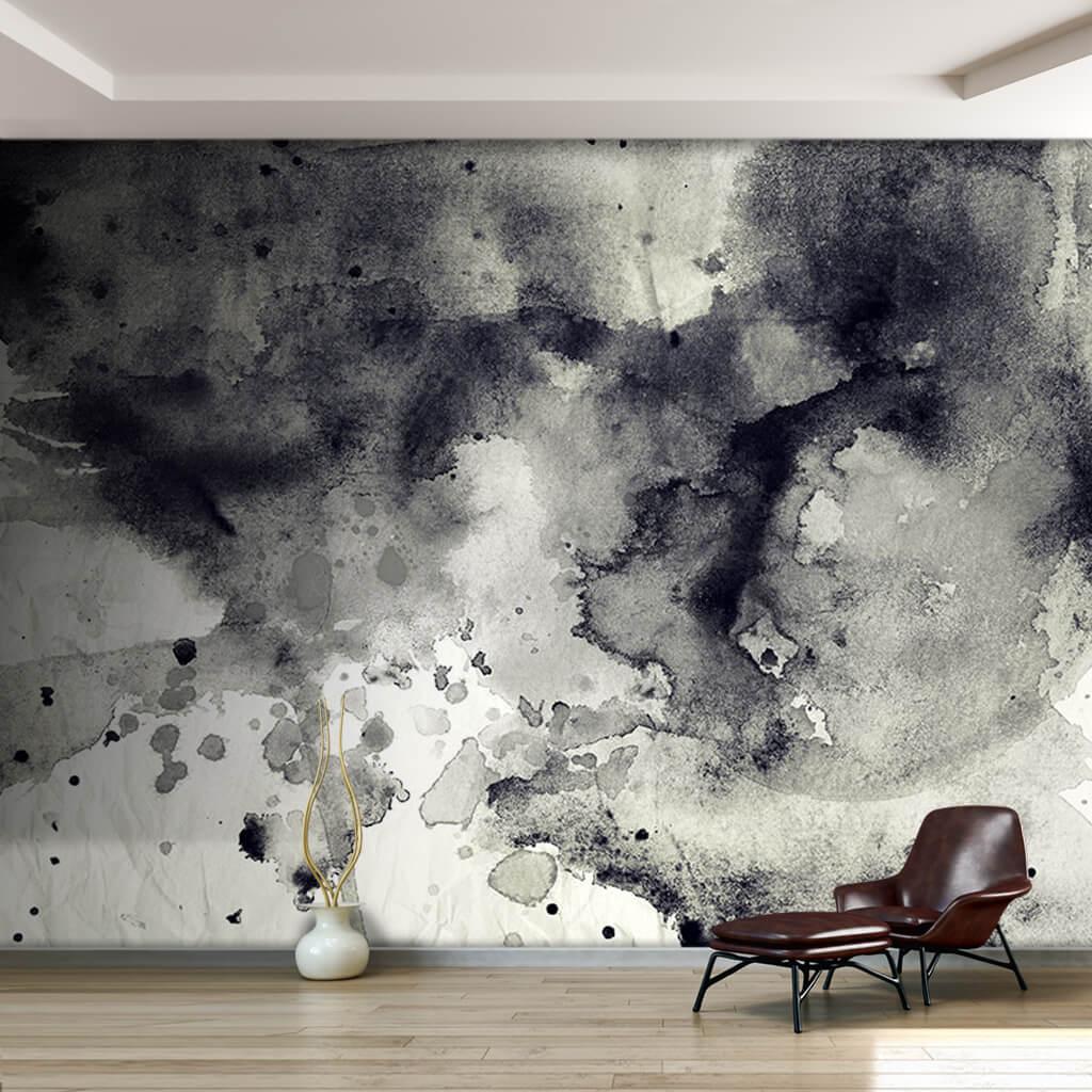 Beyaz fon üzerine siyah mürekkep suluboya doku duvar kağıdı