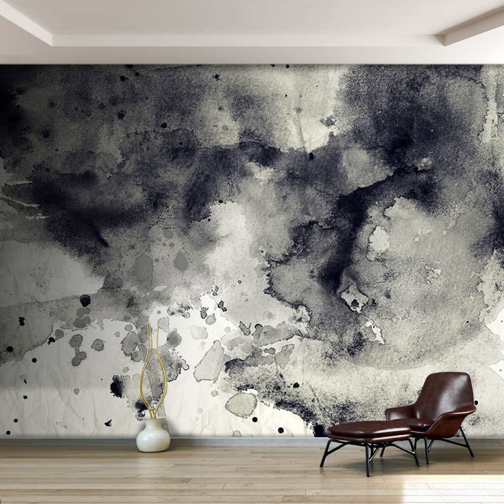 Black ink watercolor texture on white background wall mural