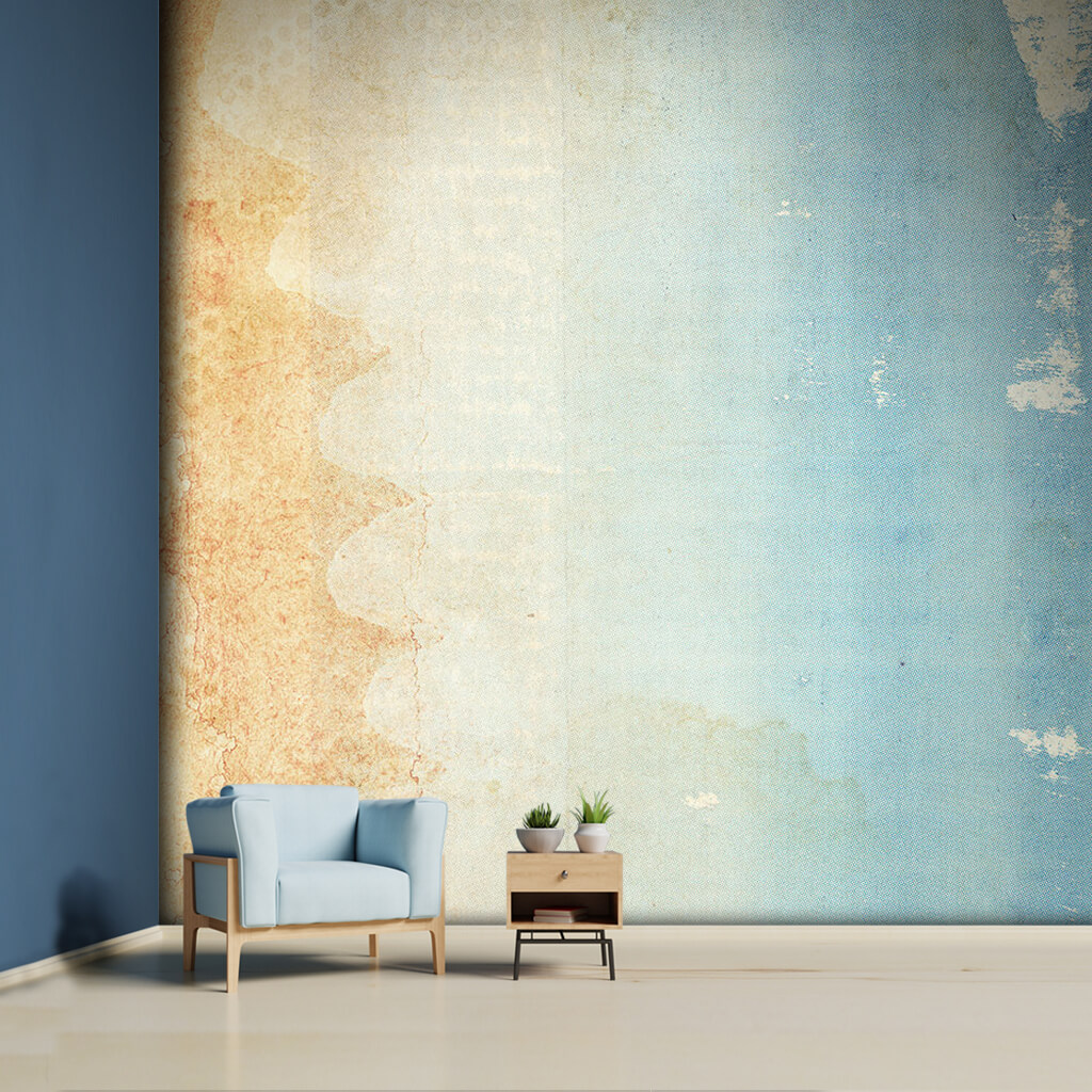 Color transitions from light brown to blue custom wall mural