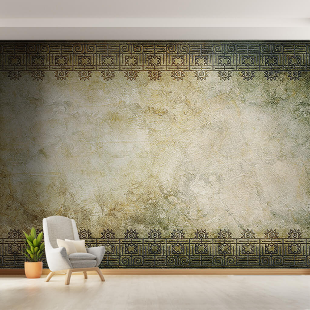 Ancient Indian Persian motifs on tumbled background