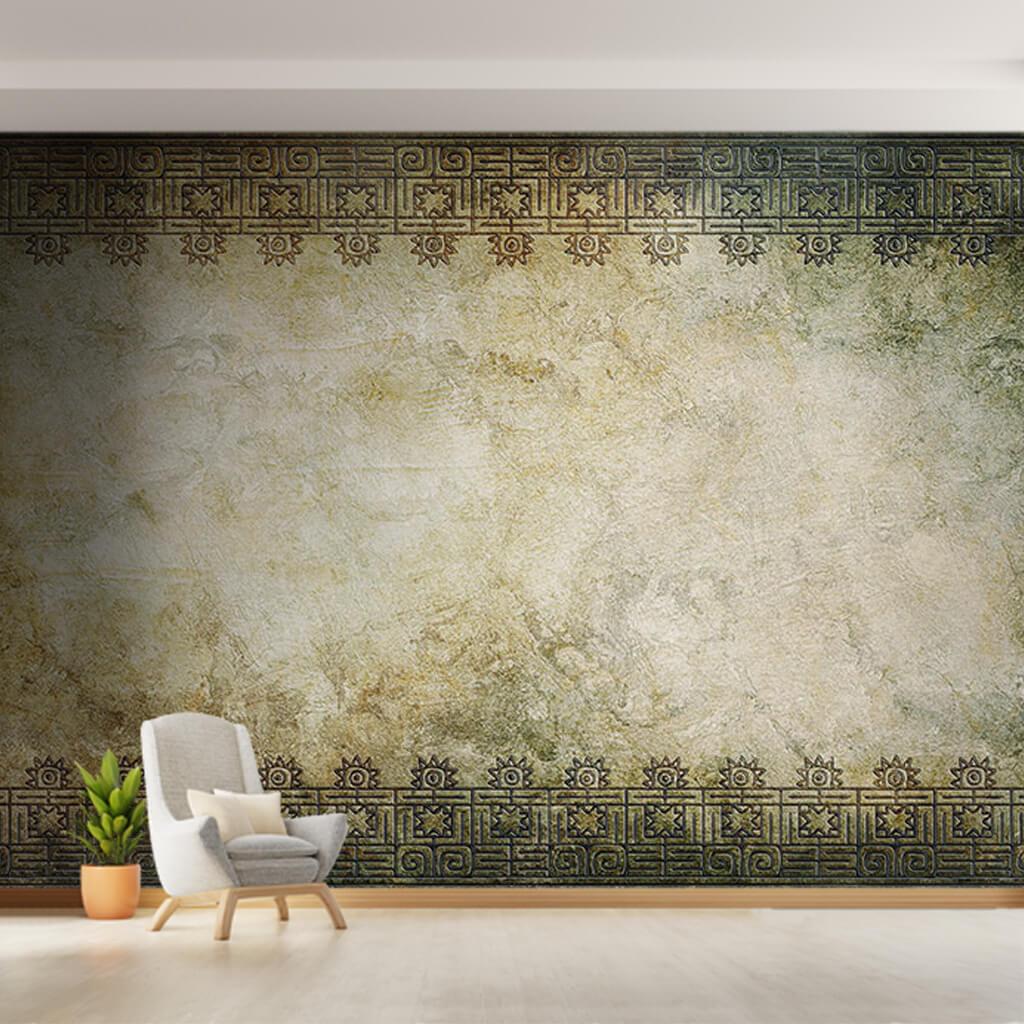 Eskitme zemin üzerine antik hint fars motifleri duvar kağıdı