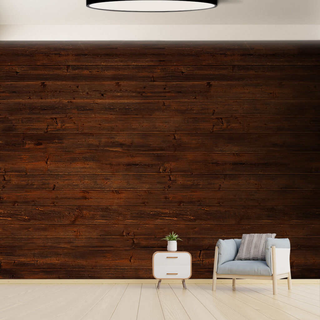 Horizontal cut pinewood dark brown wood tree wall mural