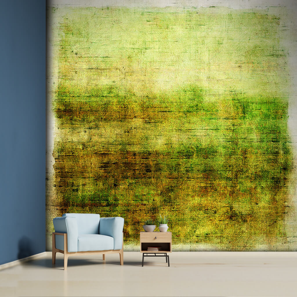 Abstract painting with stains of green grass moss and plant