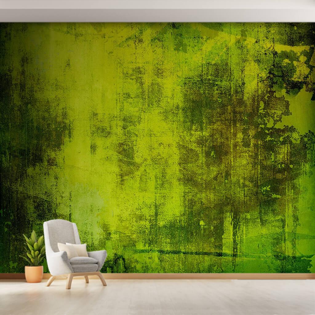 Eskitme yeşil renk tonlarıyla akan duvar boyama duvar kağıdı
