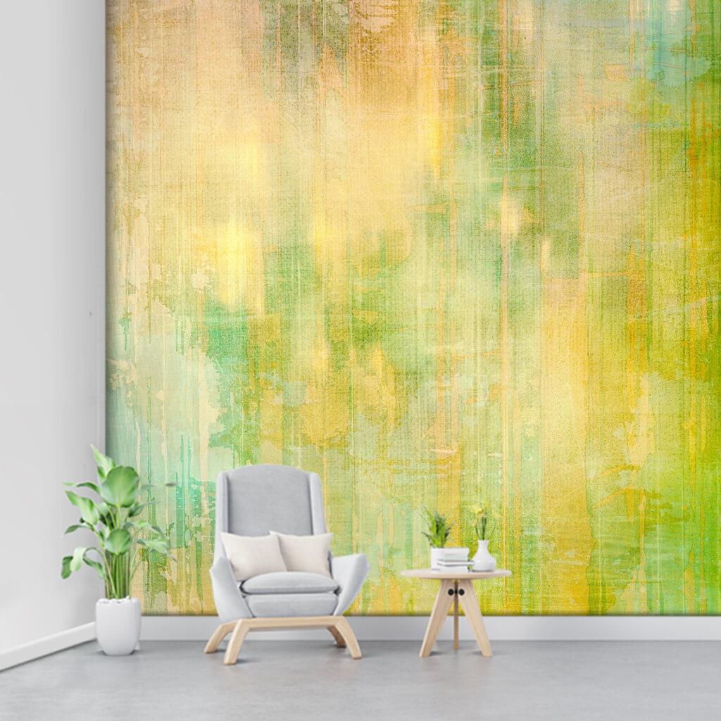 Abstract backdrop using yellow green colors custom wall mural