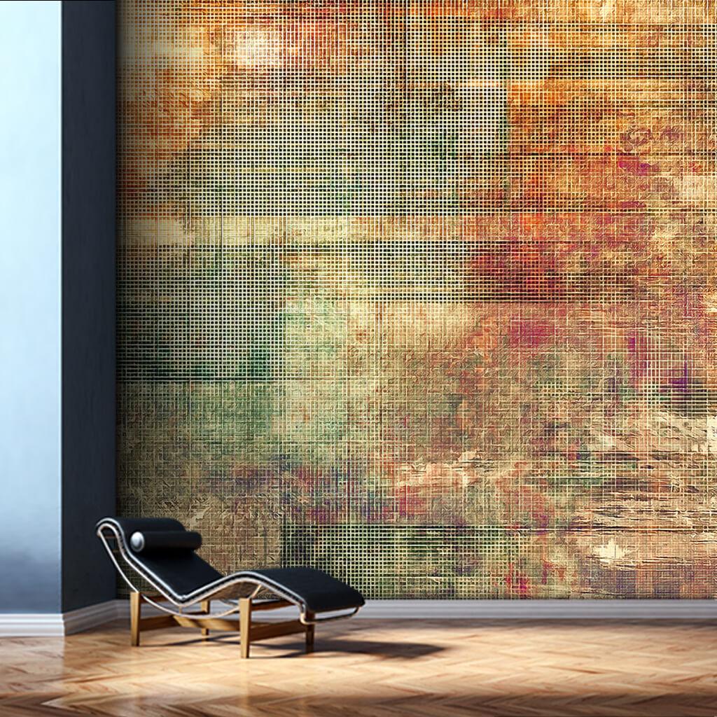Eskitme renklerle kumaş dokulu vintage duvar kağıdı
