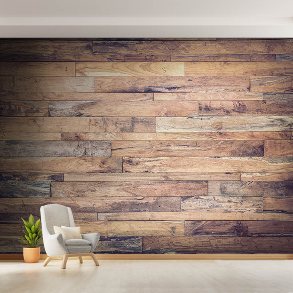 Horizontal poplar birch boards wood patterned wall mural