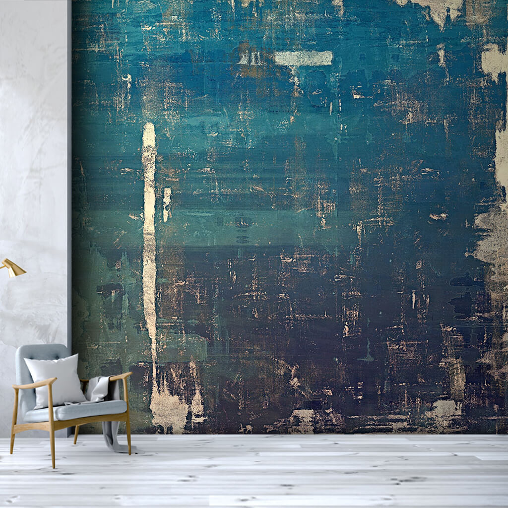 Blue painted tumbled plaster textured custom wall mural