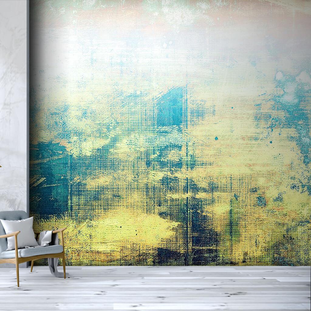 Dinamik boyama mavi sarı renklerle yağlı boya duvar kağıdı