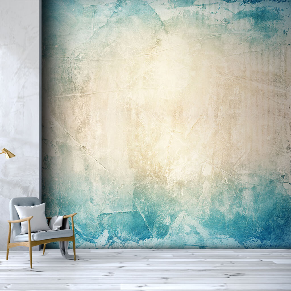 Blue white rough plaster tumbled custom scalable wall mural