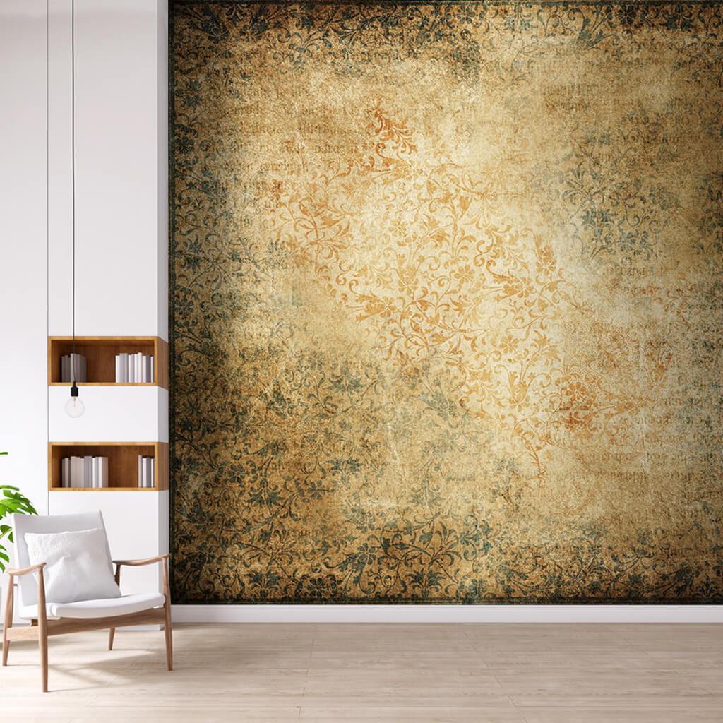 Çiçek bitki motifli antik ortaçağ desenli silüet duvar kağıdı