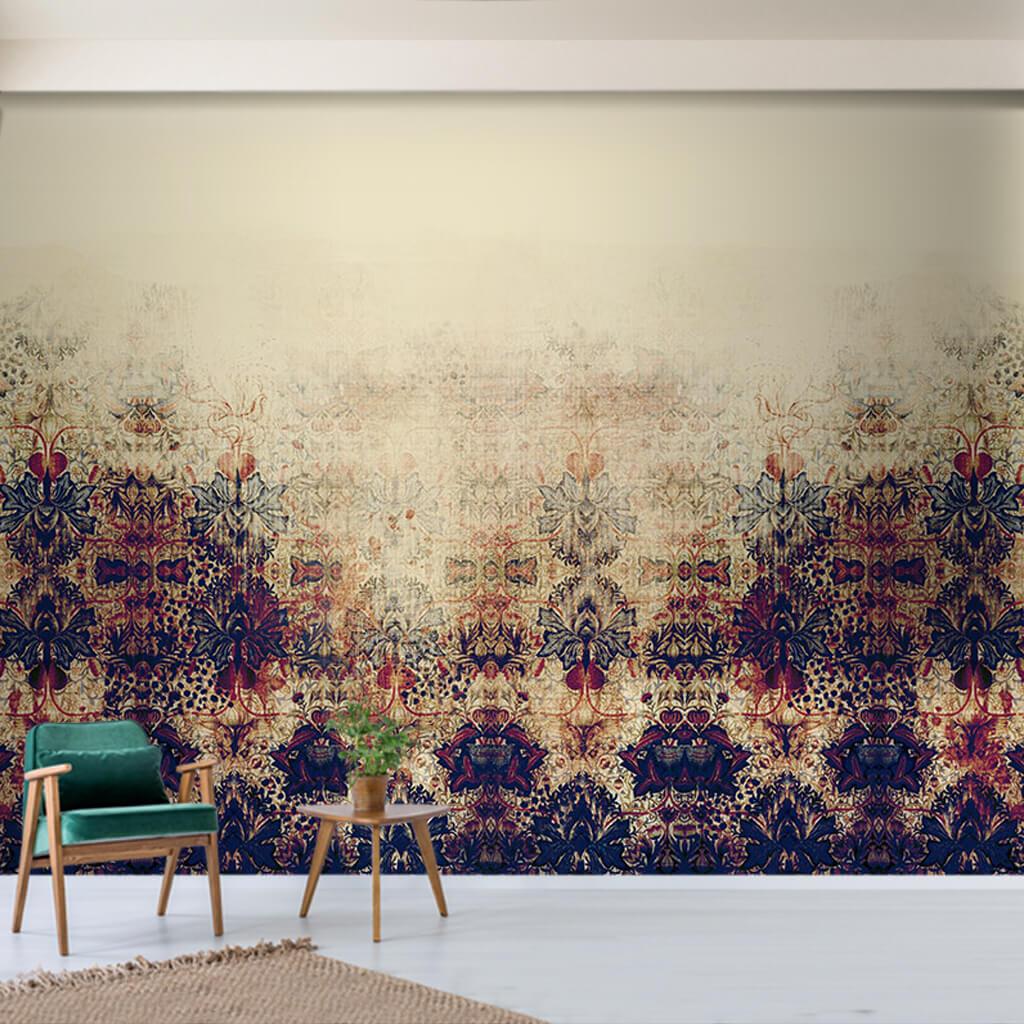 Alttan çiçek desenleriyle eskitme boyama duvar kağıdı