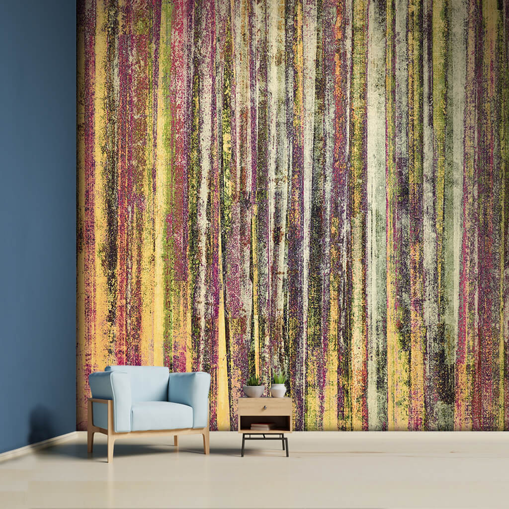 Bamboo textured vertical grunge abstract colors wall mural