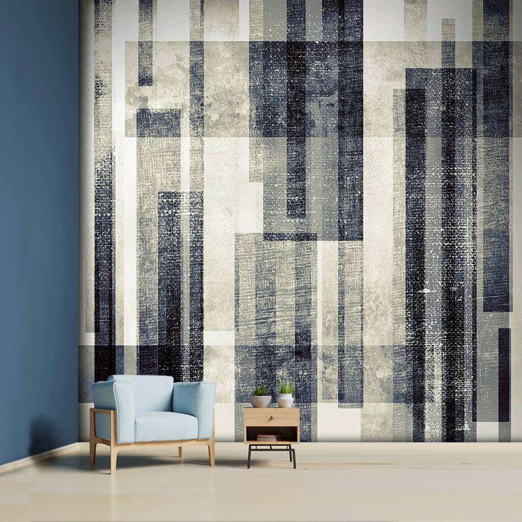 Black white abstract rectangles grunge textured wall mural