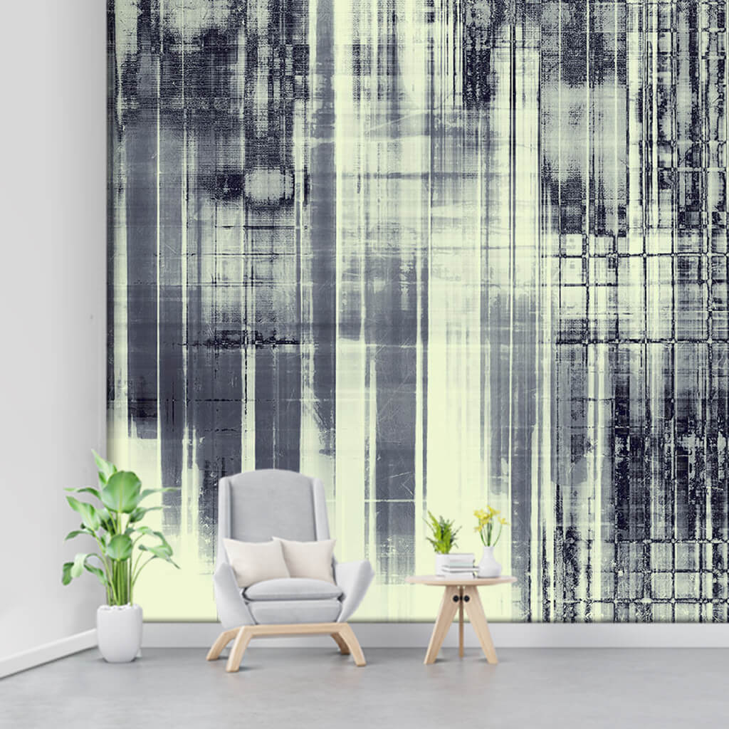 Abstract black stains grunge textured custom wall mural