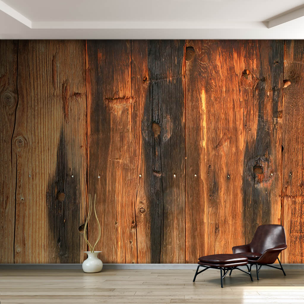 Burnt rustic barn board vertical wood tree wall mural