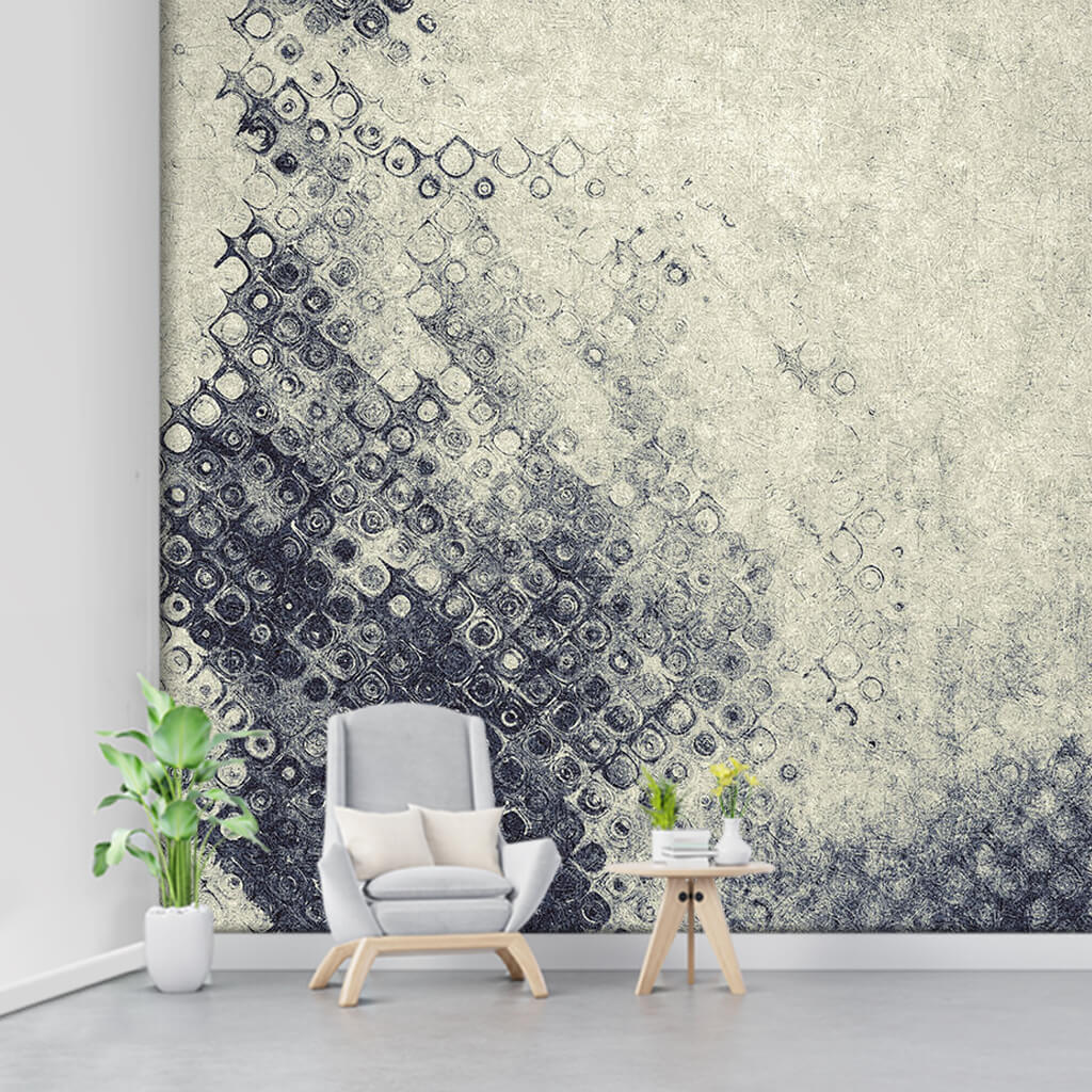 Abstract custom wall mural with spot tile pattern in black ink