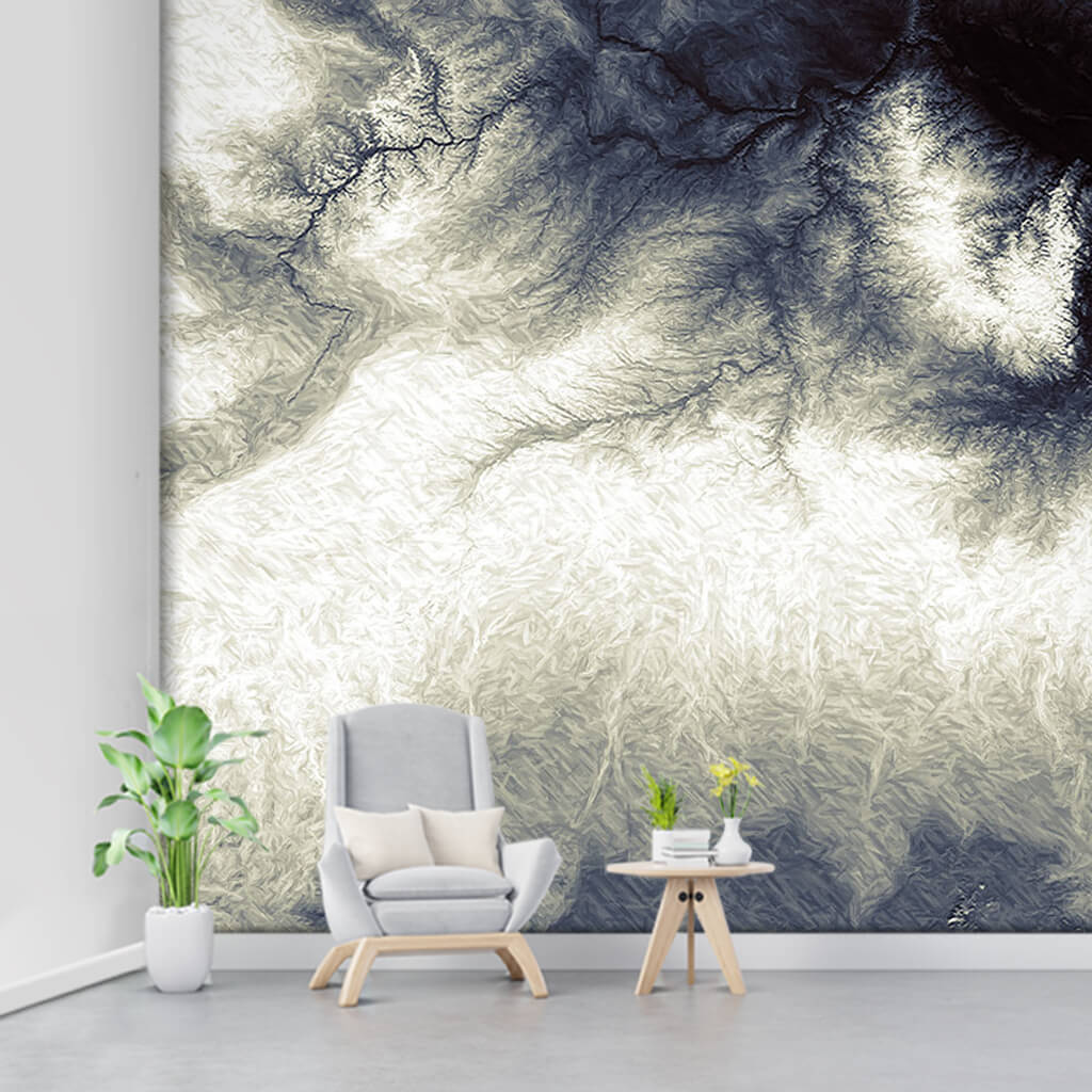 Black ink watercolor plant roots illustration wall mural