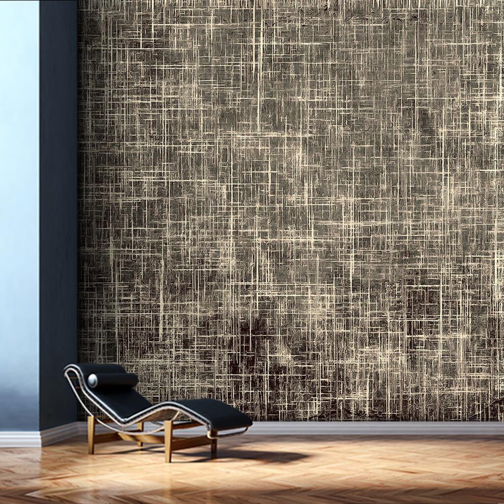 Dinamik boyama kahverengi fonda agresif çizgiler duvar kağıdı