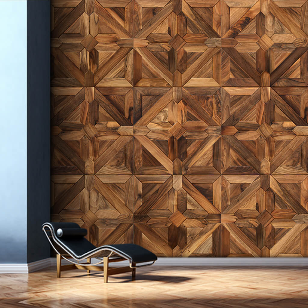 Classic prismatic wooden parquet flooring custom wall mural