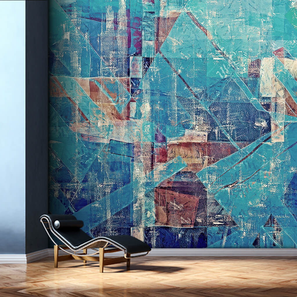 Cutout blue colors oil painting grunge style wall mural