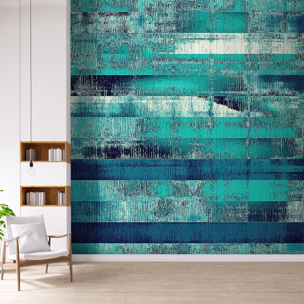 Dinamik boyama mavi tonlarında şeritler grunge duvar kağıdı