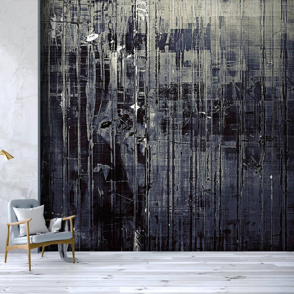 Dikey eksende siyah mürekkep ile dinamik boyama duvar kağıdı